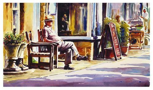 """Enjoying the sun."" - Original Fine Art for Sale - © Graham Berry"