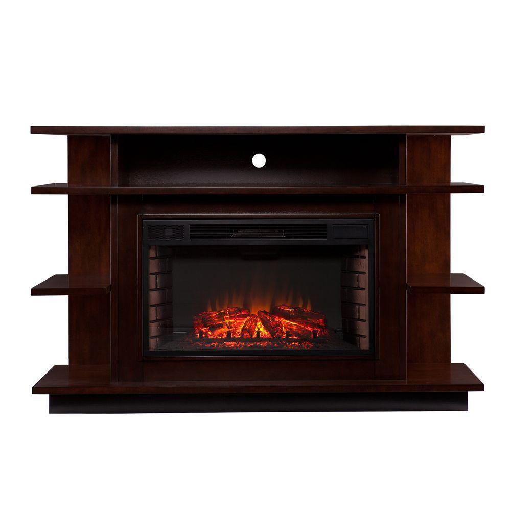 maverick 63 in freestanding media electric fireplace in espresso