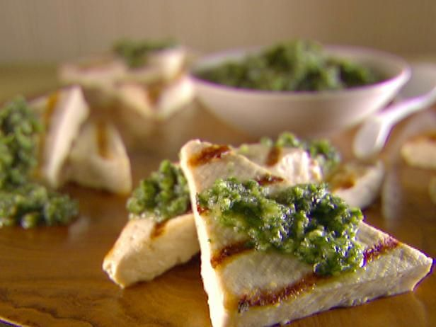 Grilled tofu with asiago and walnut pesto recipe grilled tofu get grilled tofu with asiago and walnut pesto recipe from cooking channel forumfinder Images