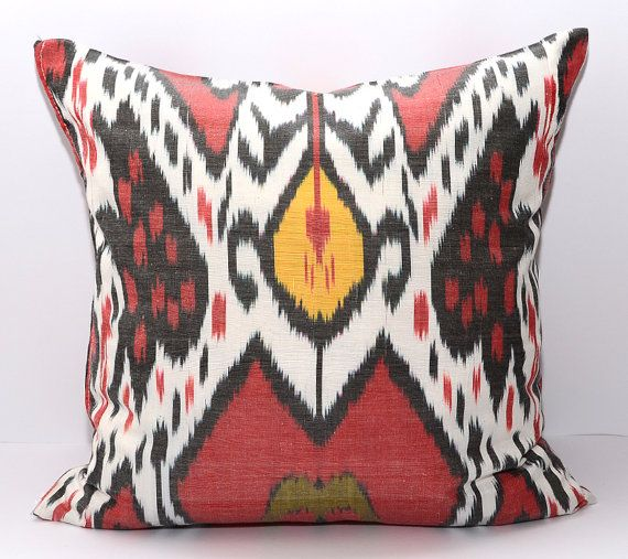 Cuscini Ikat.16x16 Ikat Pillow Ikat Cushion Uzbek Ikat Red Yellow By Silkway
