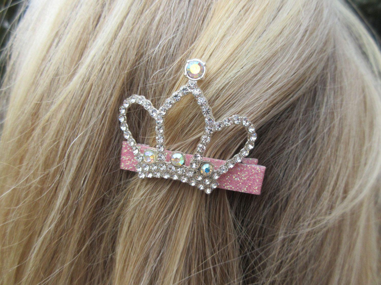 Sparkly Crystal Princess Crown Tiara Hair Comb Slide Silver Tone Bridal Prom