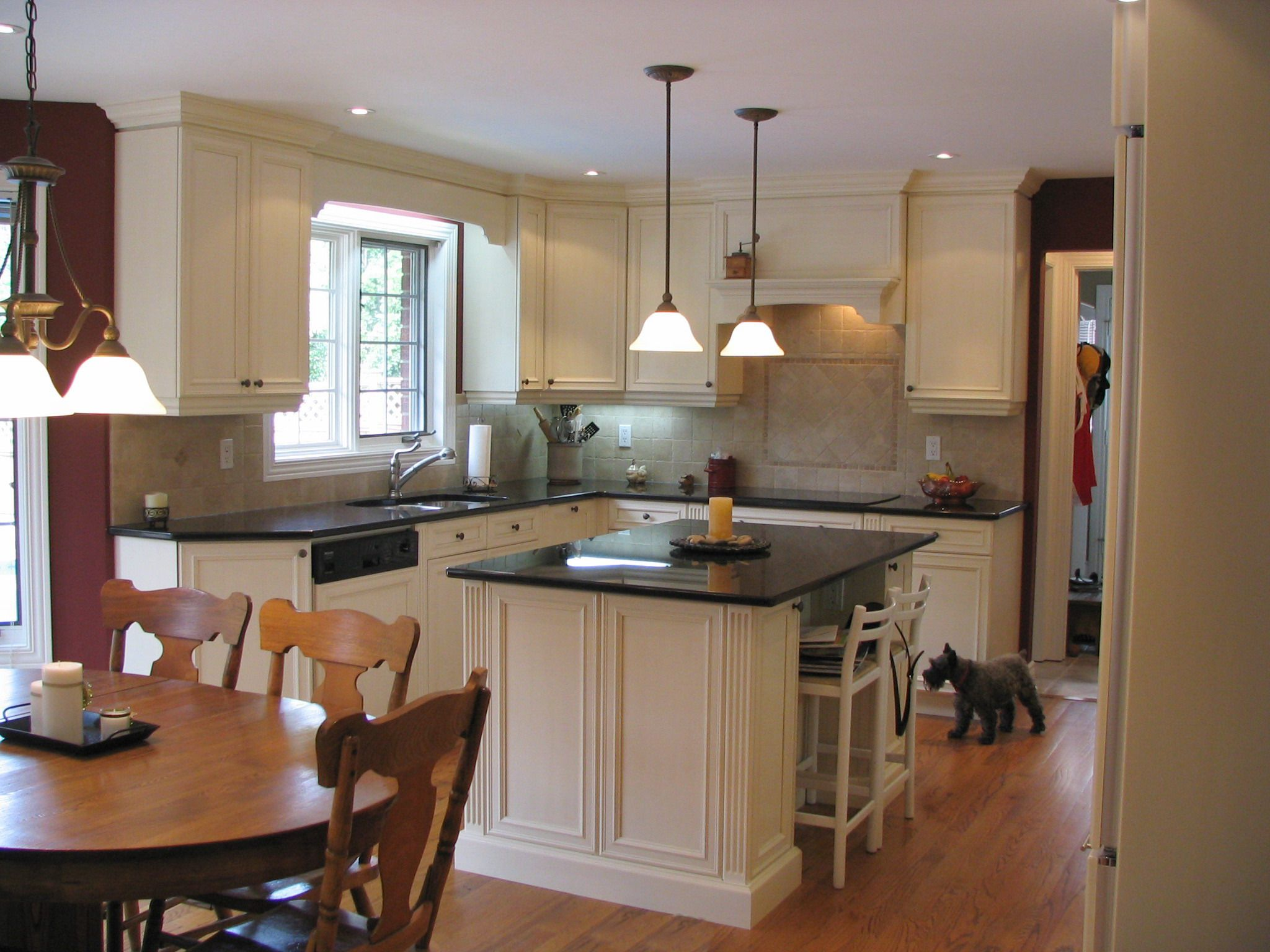Kitchen Craft Chatham Maple Cabinets, Millstone Brushed White Lacquer  Finish, Cambrian Black Countertops (