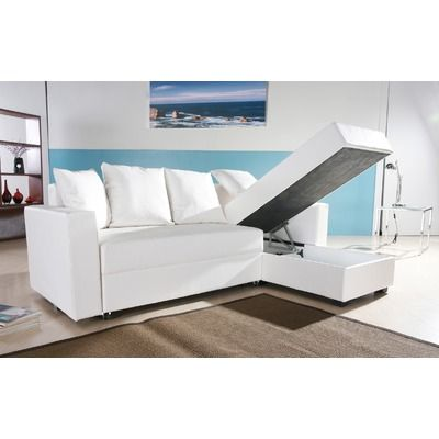 Sofa Slipcovers Gold Sparrow San Jose Leatherette Convertible Sectional Storage Sleeper Sofa in White