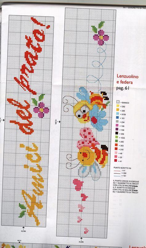 Copertina e lenzuolino gli amici del prato 3 for Lenzuolini punto croce per bambini