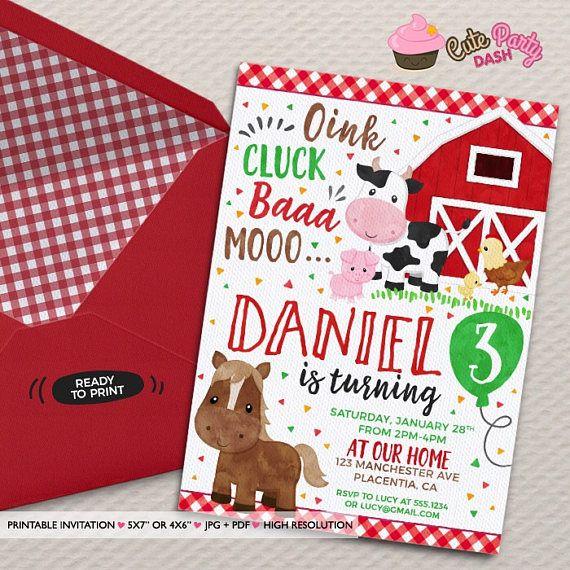 barnyard birthday invitation diy farm animals printable invite