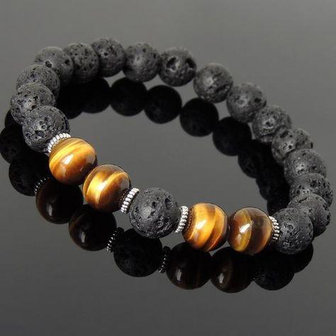 10mm Brown Tiger Eye | Bracelet de pierre de lave en pierre volcanique | Puissante guérison des chakras | Véritable perles d'espacement en argent tibétain – fait à la main par Gem & Silver   – Embracelets