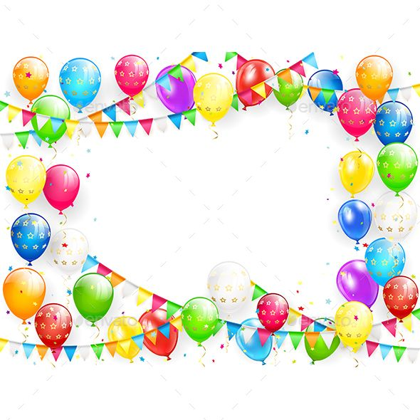 Birthday Balloons And Multicolored Confetti On White Background Birthday Balloons Balloons Birthday Background