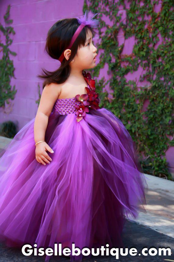 Flower girl dress Eggplant and Purple , baby tutu dress, toddler ...