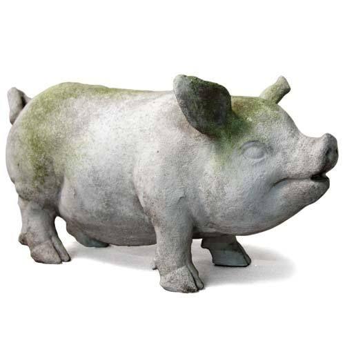 Round Pig Figurine Statue Very Cute Indoor /& Outdoor Home Decor