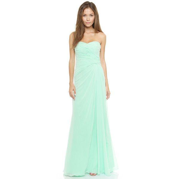 Monique Lhuillier Bridesmaids Strapless Ruched Gown - Mint found on ...