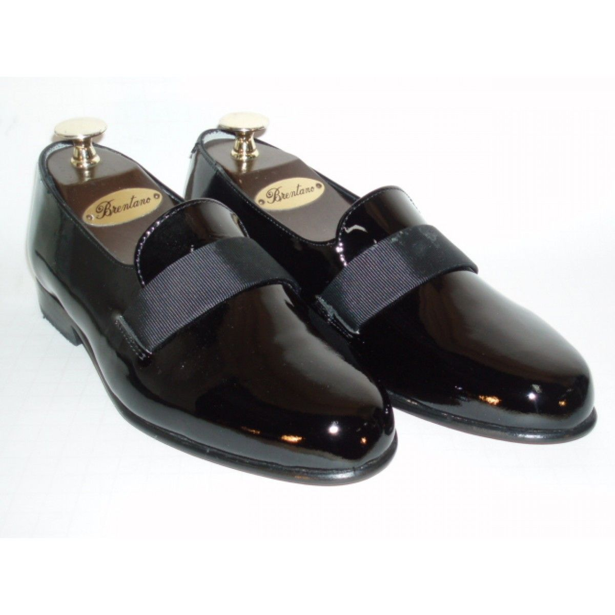 Brentano Tuxedo Black Patent Leather Slip on Shoes with Leather Soles