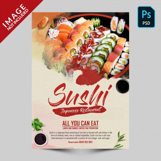 Folleto de promoción de sushi PSD Premiu...   Premium Psd #Freepik #psd #flyer #comida #menu #restaurante