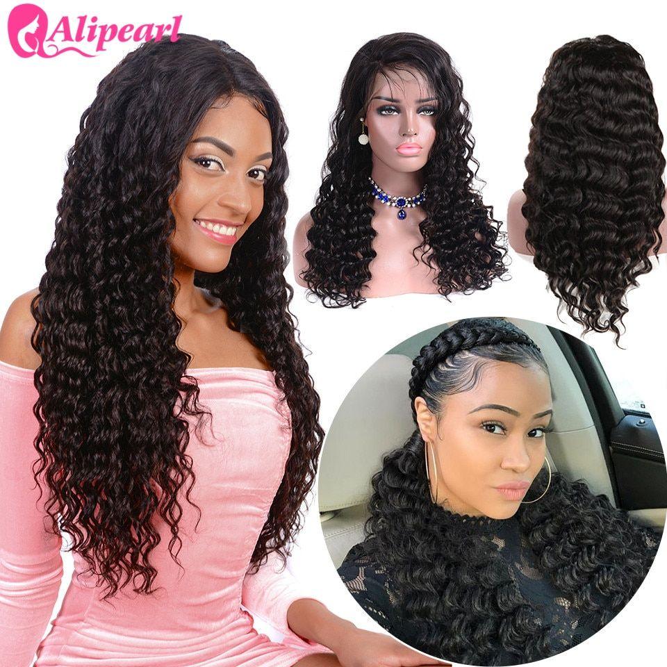 2019 Fashion Alipearl Loose Deep Wave Lace Front Human Hair Wigs 130 150 180 250 Density Pre Plucked Brazilian Hair Wigs Remy Natural Color Human Hair Lace Wigs