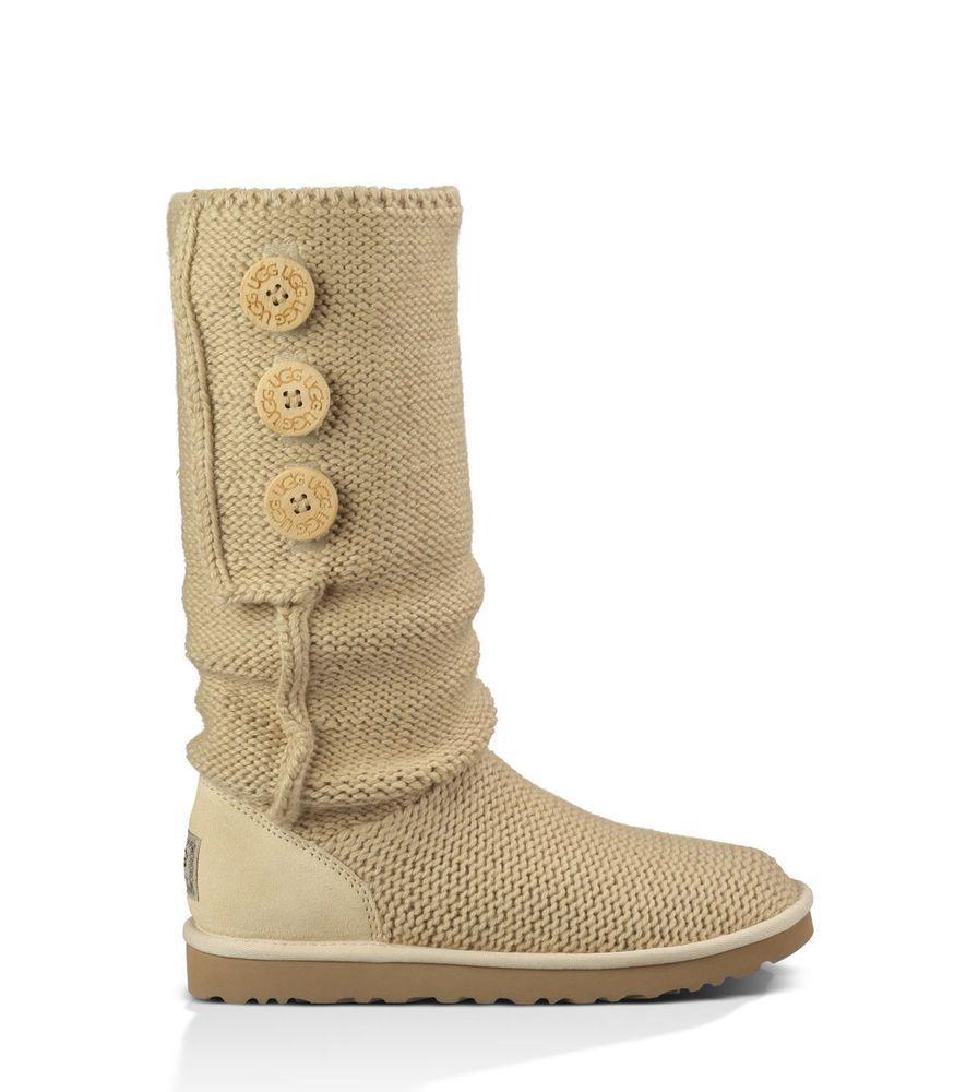 4009c1f9a56 ... promo code for ugg australia cardy pearl cream knit sheepskin button  boots sz 8 nwob 45e71 ...