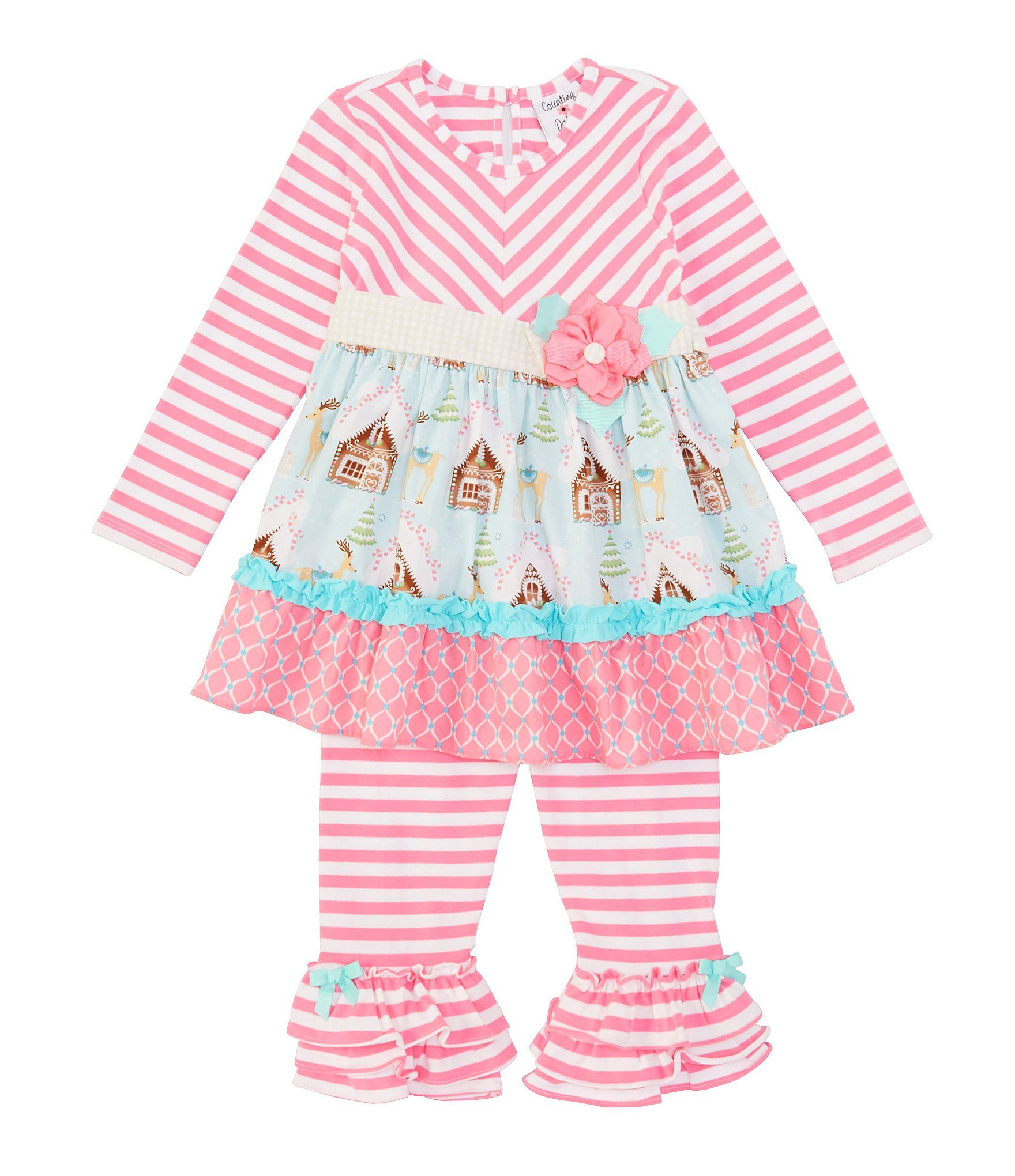 Counting Daisies Little Girl 2T-6X Mixed MediaGingerbread-Print Dress  Striped Leggings Set - Pink 2T #stripedleggings