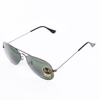 ec3c8d19396de7 New Ray Ban RB3025 W3236 55mm Gun Metal Aviator Sunglasses G15 Green Lens