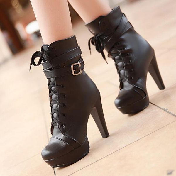 autumn toe lace up chunky high heels black