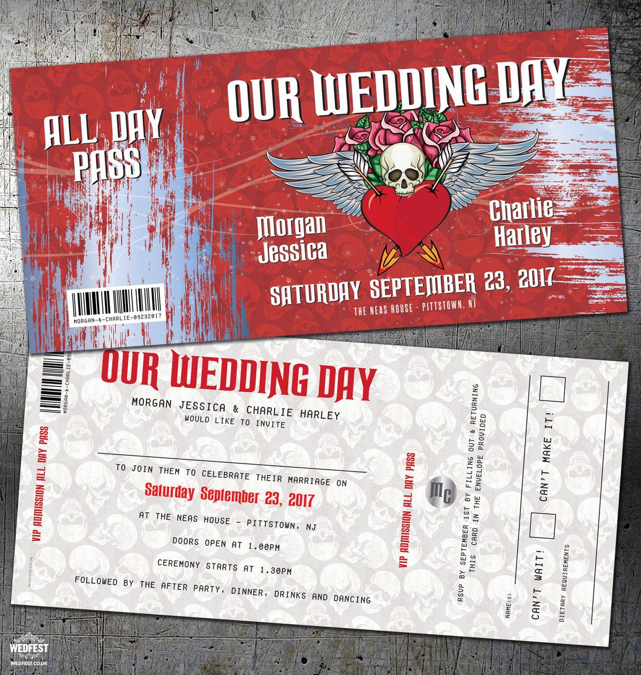 tattoo skulls rock n roll wedding invitation http://www.wedfest.co ...