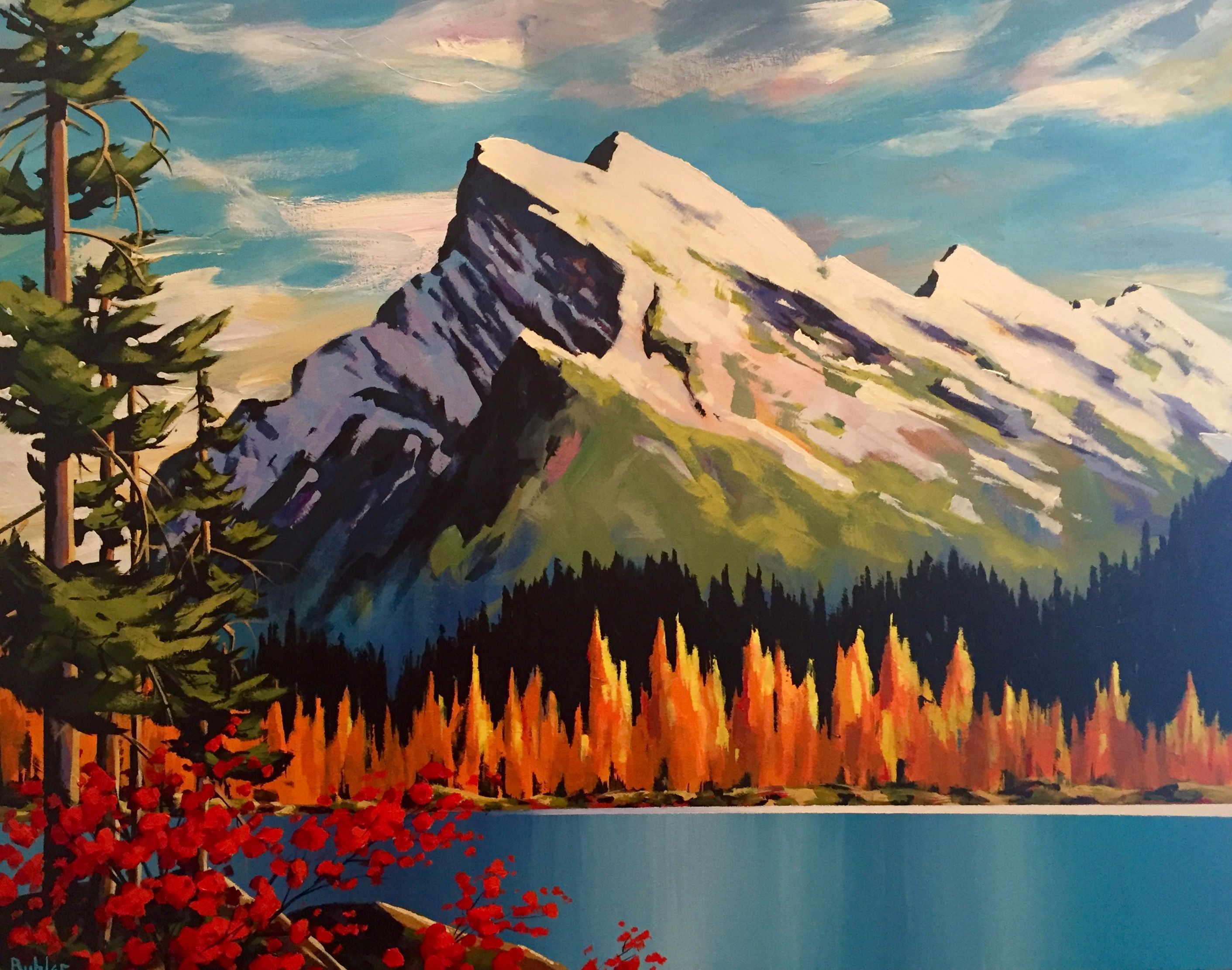 Mount Rundle 2 By Brian Buhler Landscape Art Realistic Oil Painting Mountain Art