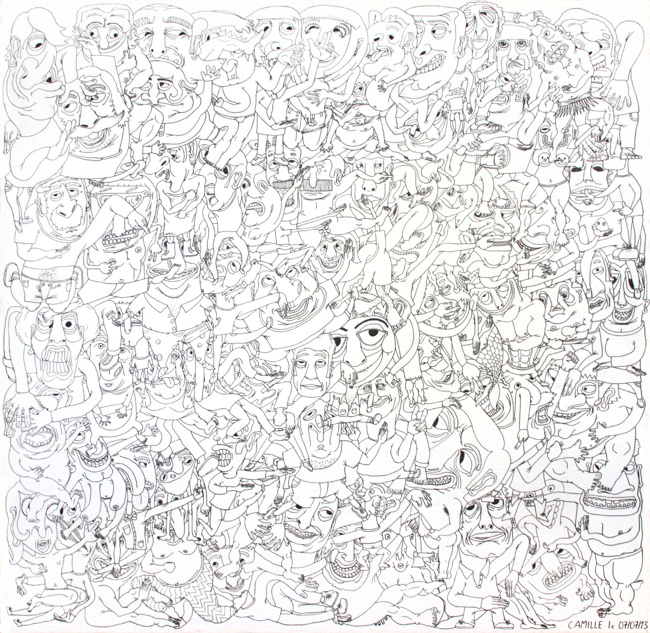 dessin illustration sur toile 40x40 cm d 39 accumulation de personnages au stylo encre pas de. Black Bedroom Furniture Sets. Home Design Ideas