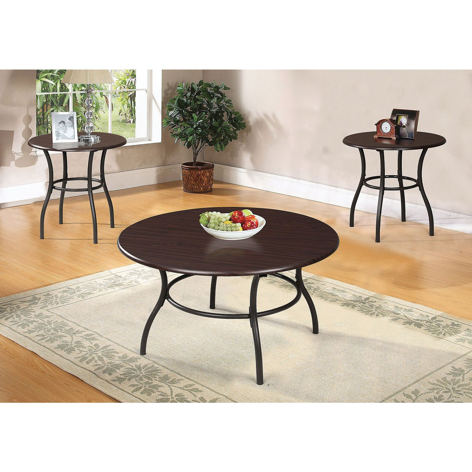 Urika 3 Piece Coffee And End Table Set Dark Cherry Espresso 3pc Coffee 2 End Tables Dark