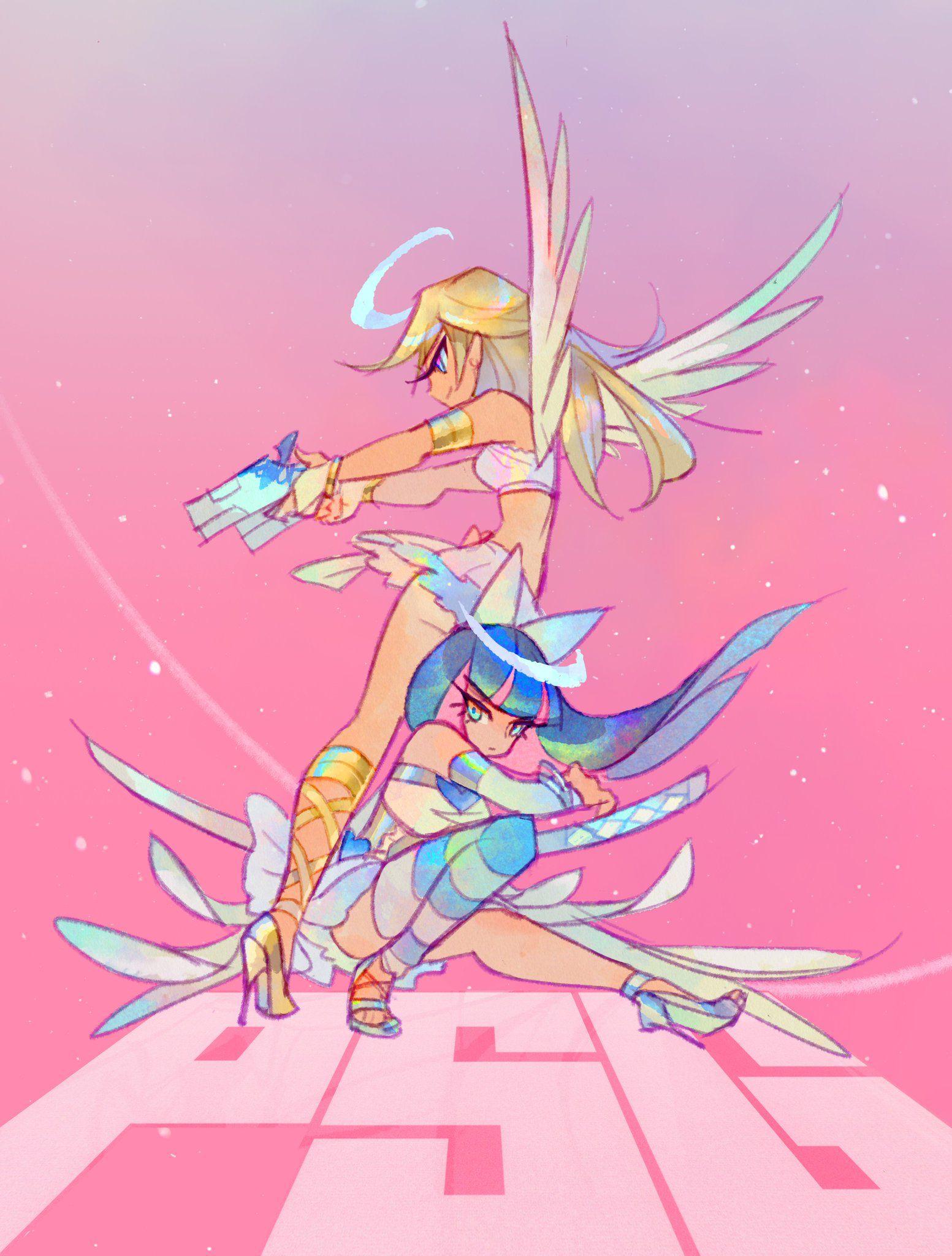 寧 Commissions Open On Twitter Panty And Stocking Anime Character Art Cartoon Art