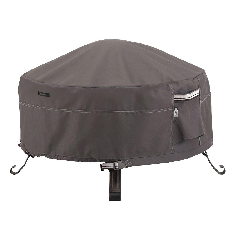 Classic Accessories Ravenna 30 In Round Full Coverage Fire Pit Cover Dark Taupe Outdoor Furniture Covers Fire Pit Table Cover Round Fire Pit Table