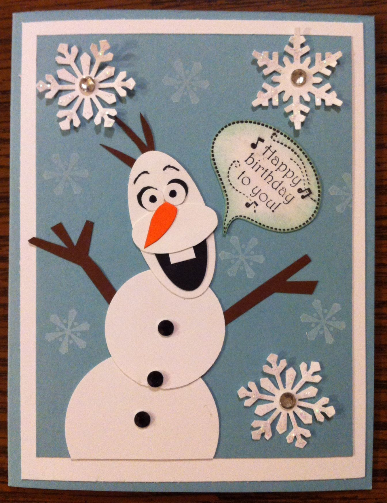 my almost olaf card for my niece's birthday  unique