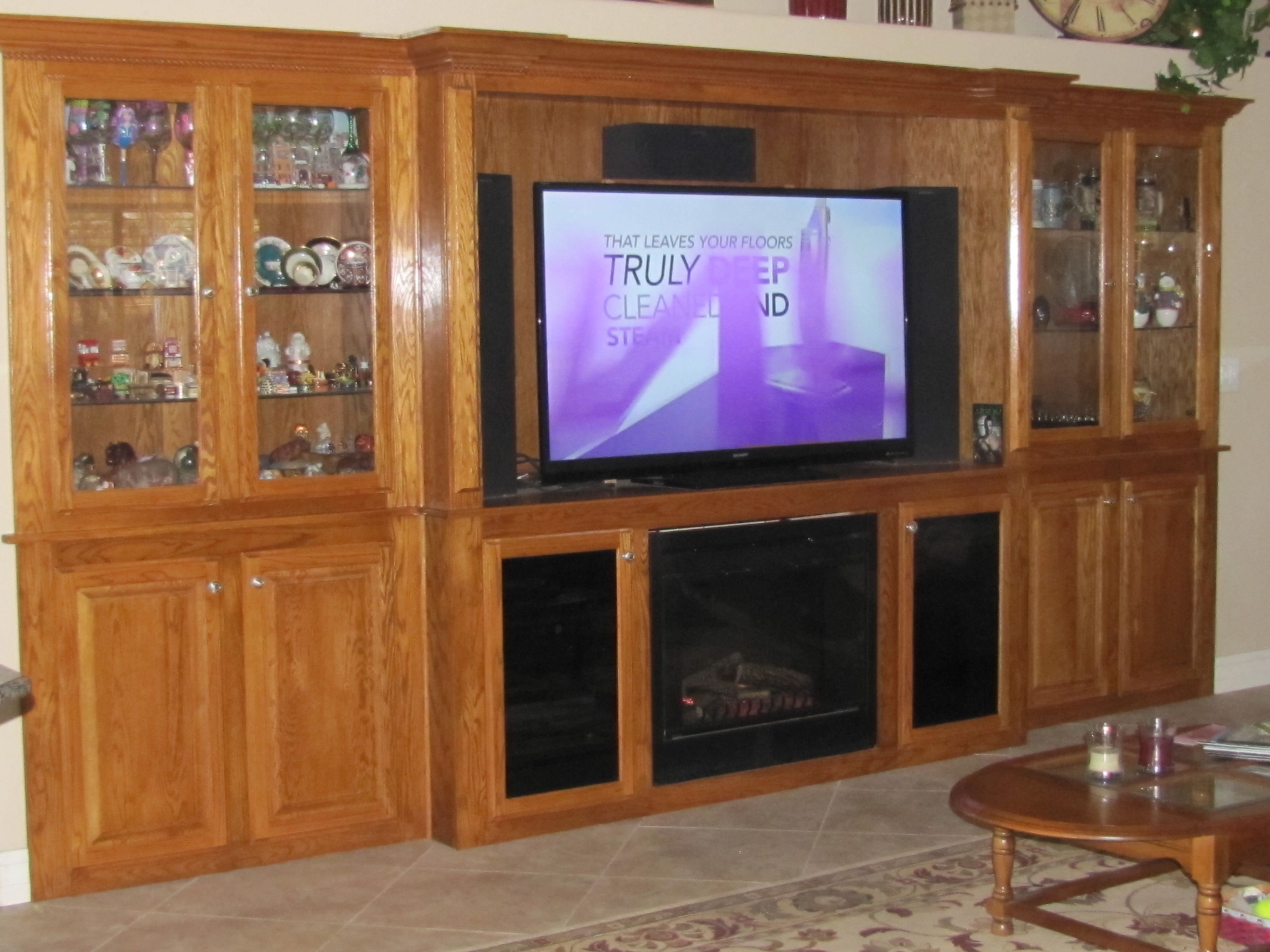 My Husband Designed And Built This Oak Entertainment Center In A Hole In The Wall It Houses A