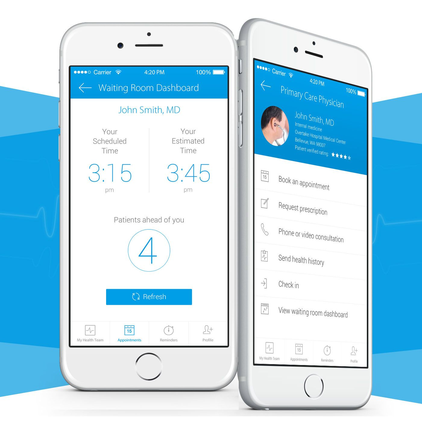 Healthcare Medical Appointment App. perfect health