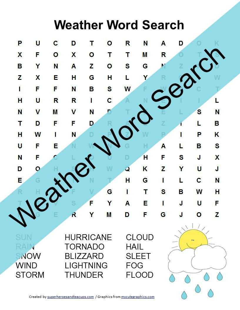 Weather Word Search Free Printable | Superheroes and Teacups ...