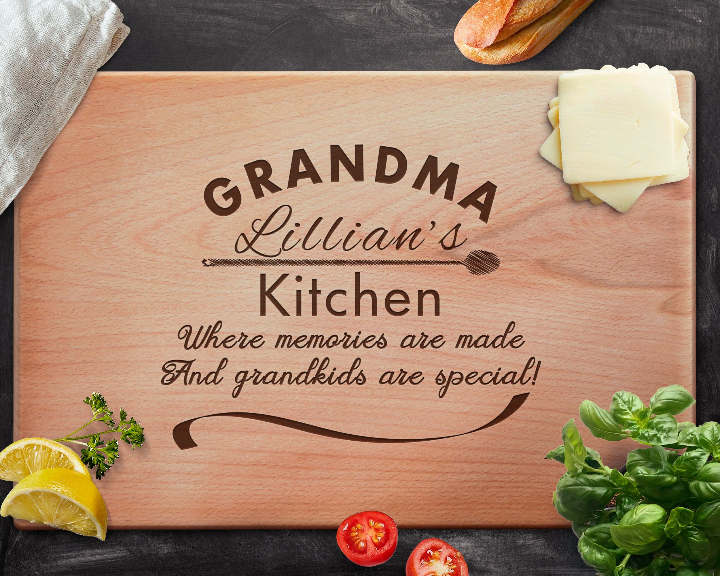 Personalized Cutting Board Engraved Cutting Board Custom Cutting Board Grandmother Grandma Mother/'s Day