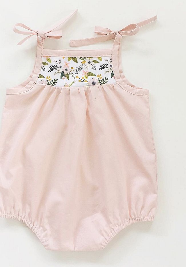 Handmade Vintage Style Baby Rompers With Floral Detail