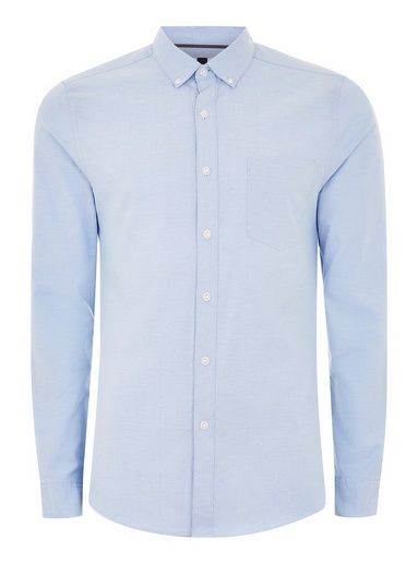 880e0106ad8d Blue Stretch Skinny Oxford Shirt Button Down Collar, Skinny Fit, Woven  Fabric, Shirt