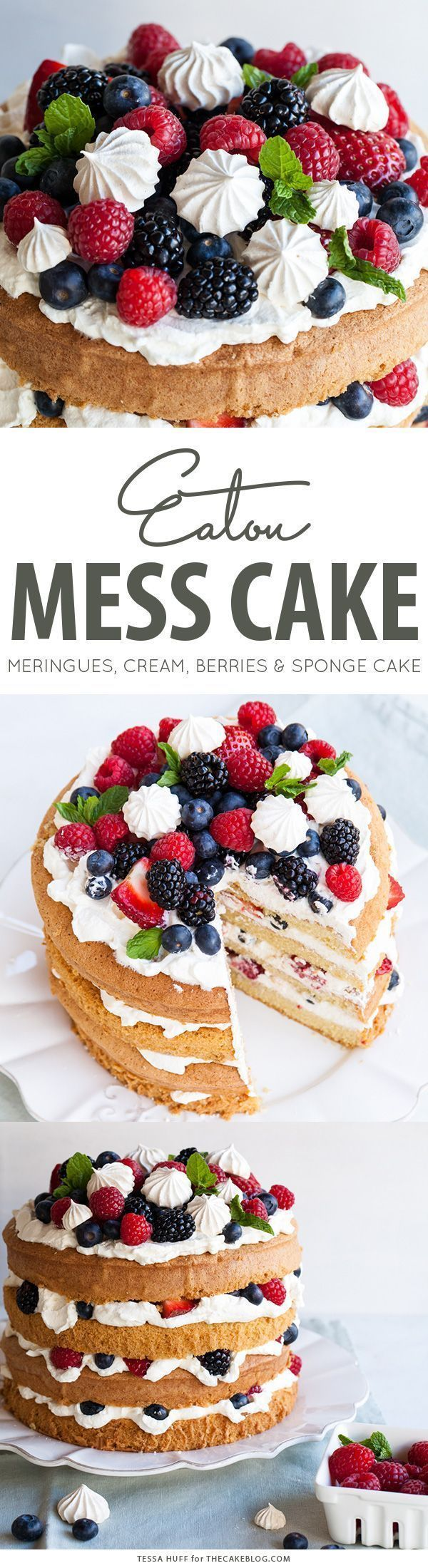 Eaton Mess Cake with crisp meringues, sweetened cream and fresh berries. A refreshing cake for spring and summer celebrations.   By Tessa Huff for TheCakeBlog.com