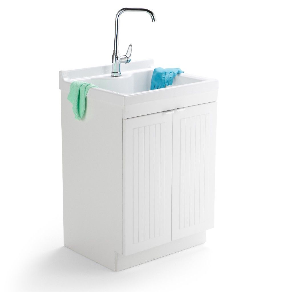 Murphy 24 Laundry Cabinet W Faucet Abs Sink In Pure White