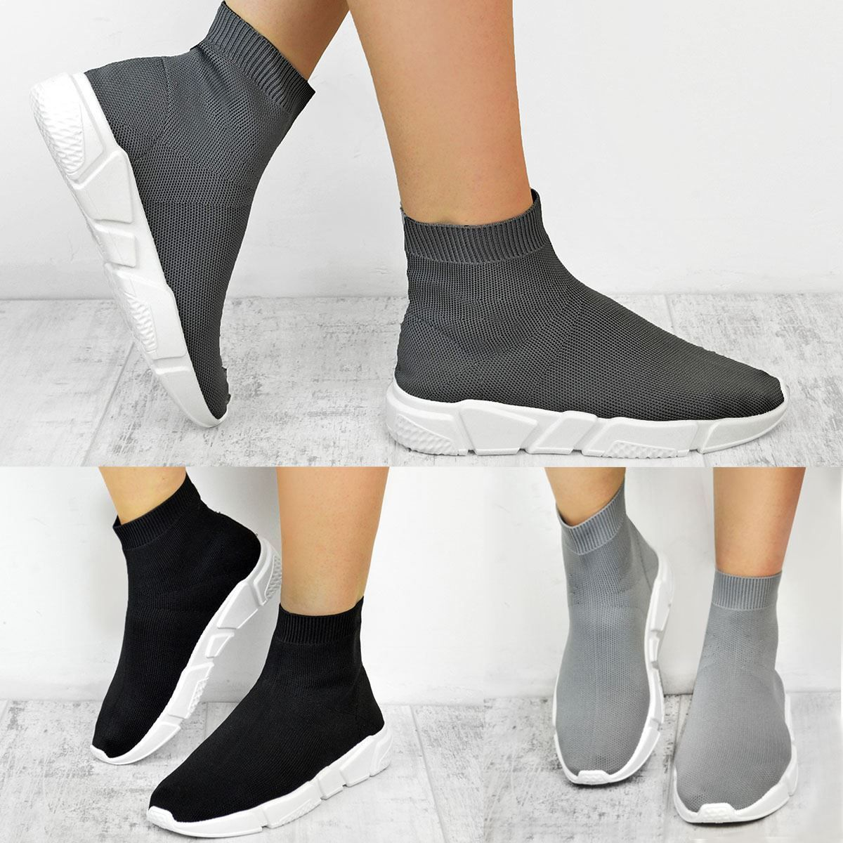 23a4384c20b70 Womens Ladies Sneakers Trainers Sock Runners Comfy Speed Knit Gym Shoes Size