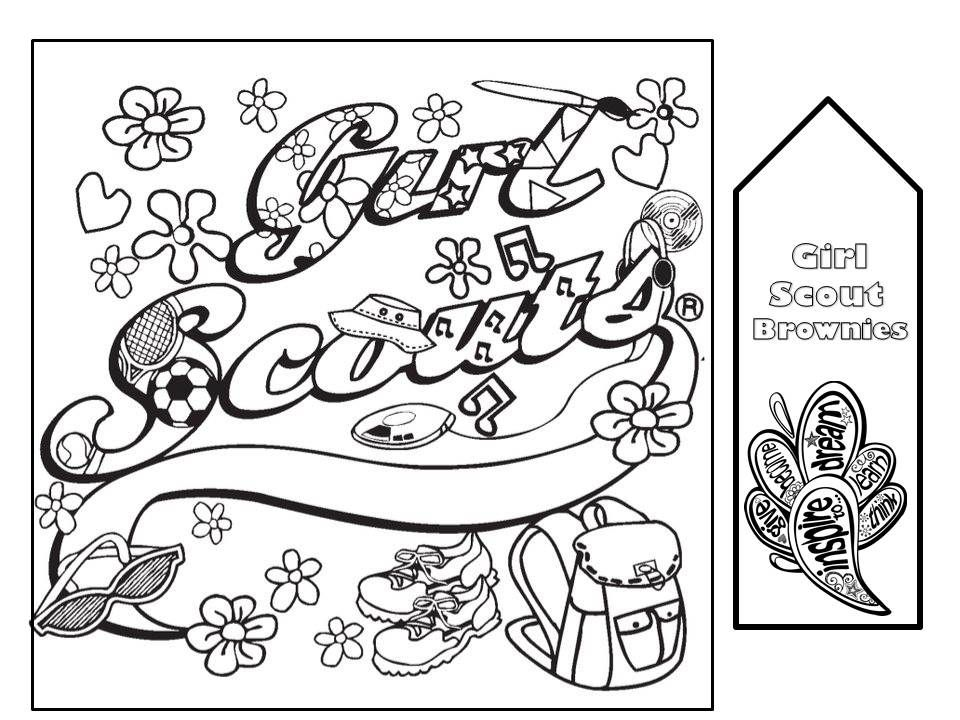Coloring Page for Girl Scout Meetings with a bookmark. Print on card ...