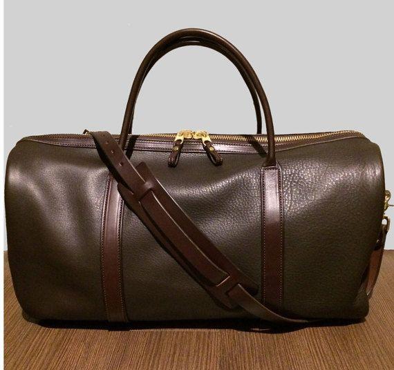 Brown Leather Weekender Bag MAILBOX Shape von connordickson auf Etsy