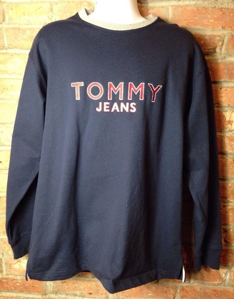 Vintage TOMMY HILFIGER Jeans Embroidery Spellout LOGO Sweatshirt 90s  | eBay