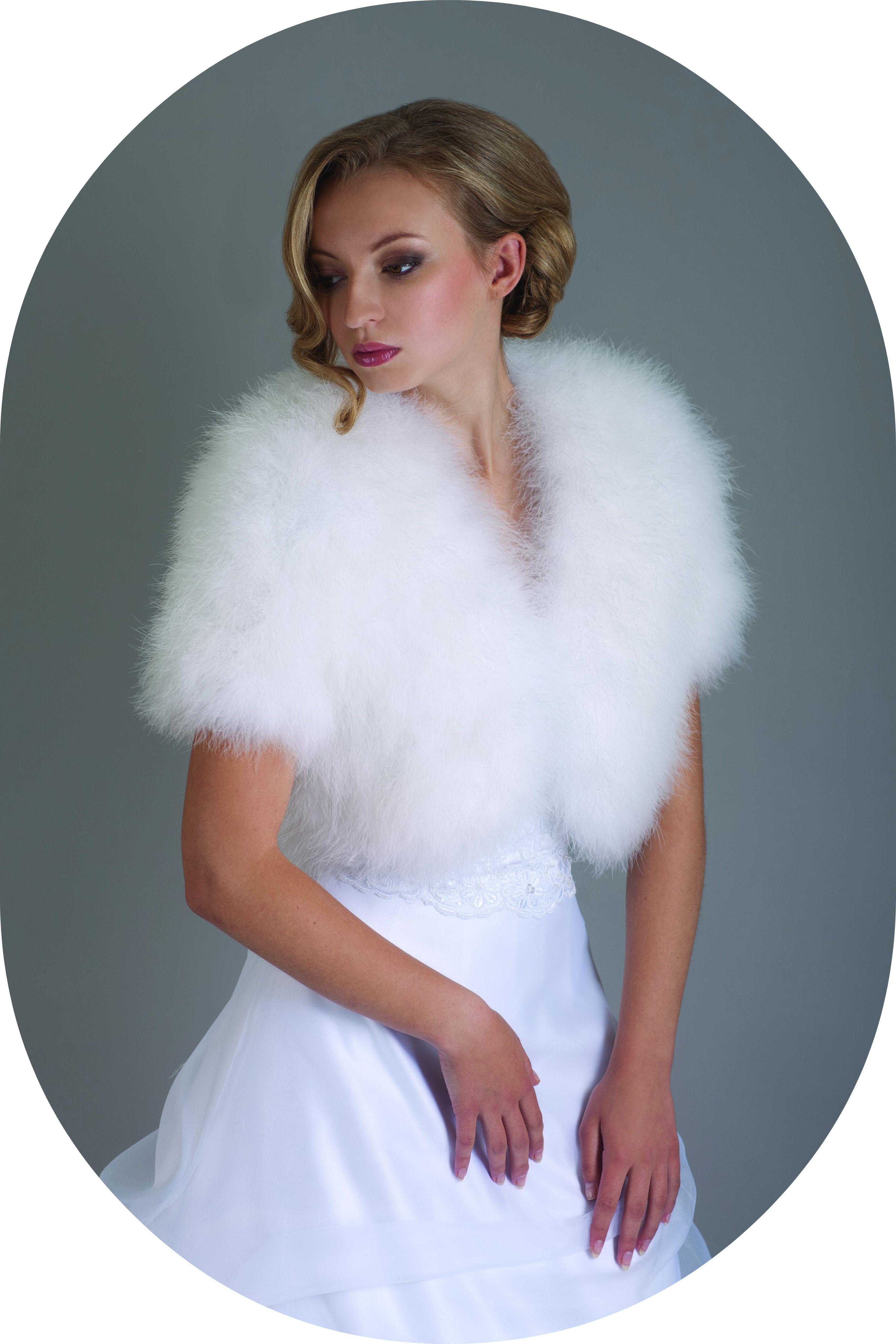 Winterbolero fr die Braut  Brautjacke aus Marabufedern