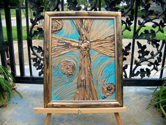 Orginial Textured Cross painting framed on by PaintingsbyCharlotte