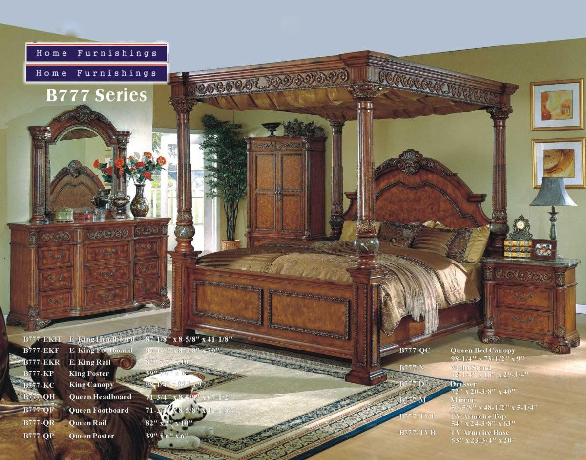 Solid Wood Italian Marble Canopy Bedroom