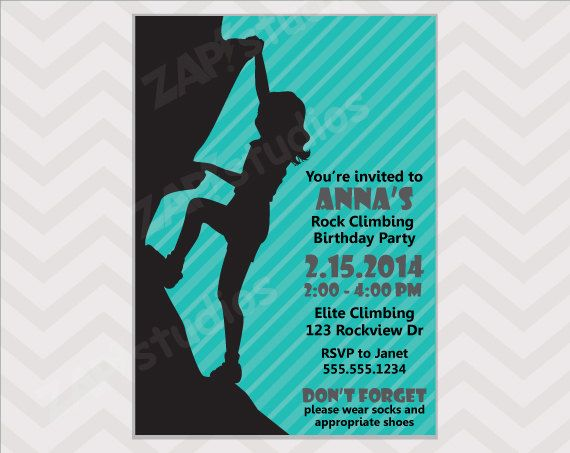 Throw an awesome rock climbing party with this rock climbing throw an awesome rock climbing party with this rock climbing invitation for girls i also have a boy version available this listing is for a digital filmwisefo
