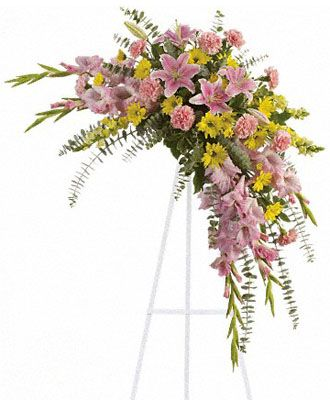 #Rejoice with this softly #dramatic #cascade of pink and yellow #blooms ? #lilies, gladioli and #chrysanthemums ? that has hints of #eucalyptus and #variegated greens.