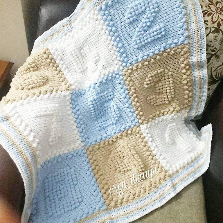 Sayılı örgü bebek battaniyesi | Mantas para bebes, Manta y Para bebes