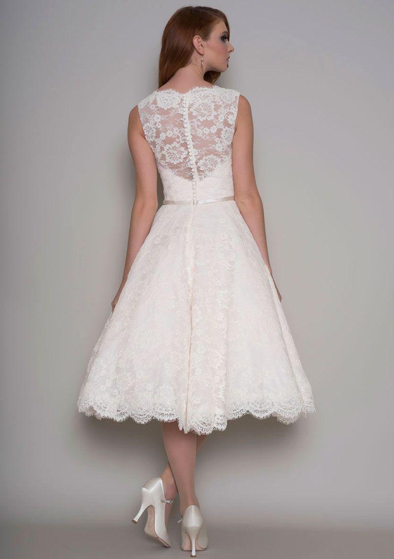 Sleeveless tea length lace wedding dress wedding someday