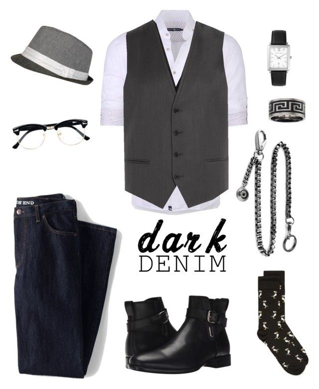 """Dark man"" by naomi-mann on Polyvore featuring Lands' End, Dsquared2, Stone Rose, Larsson & Jennings, Aquatalia by Marvin K., HUGO, Topman, men's fashion, menswear and darkdenim"