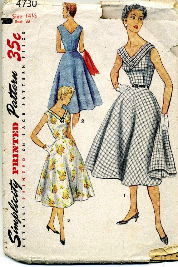 CLOSING SALE 1950s Dress Pattern Simplicity 4730 Bust 33 Half Size ...