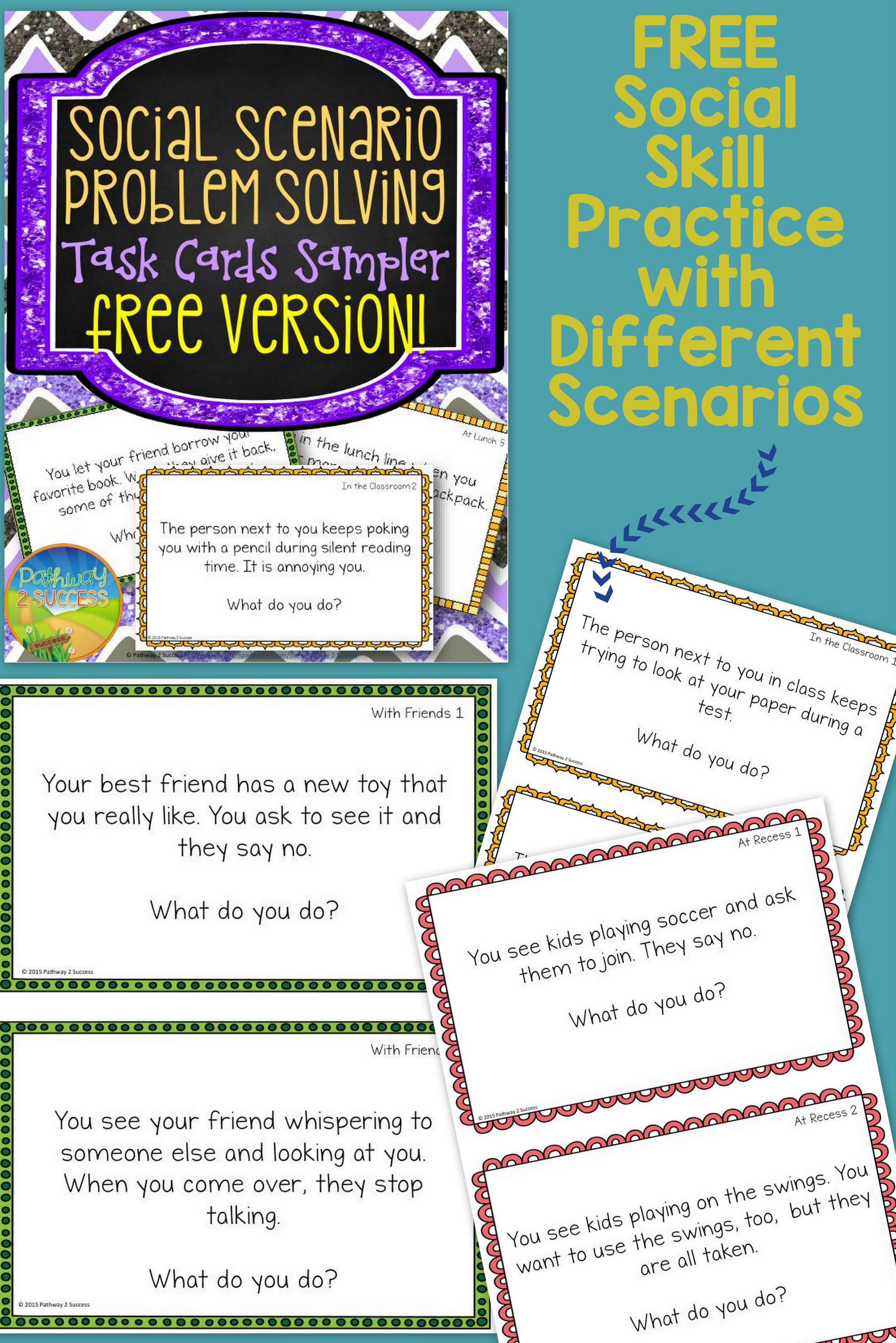 Free Social Scenario Problem Solving Sampler 10 Fun Task Cards With Different Socia Teaching Social Skills Social Emotional Learning Social Skills Activities